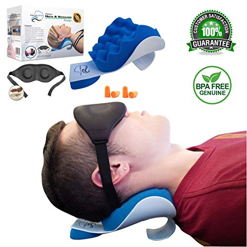 NeckZen Neck and Shoulder Relaxer and Revitalizer - Best Stiff Neck and Shoulder Chiropractic Support Pillow Neck Traction Device for Cervical Spine Alignment and Pain Relief Management and Relaxation