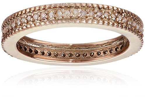 SterlingSilver with Brown Rhodium Brown Diamond Stackable Band Ring (1/4 (Diamond Silver Eternity Bands)