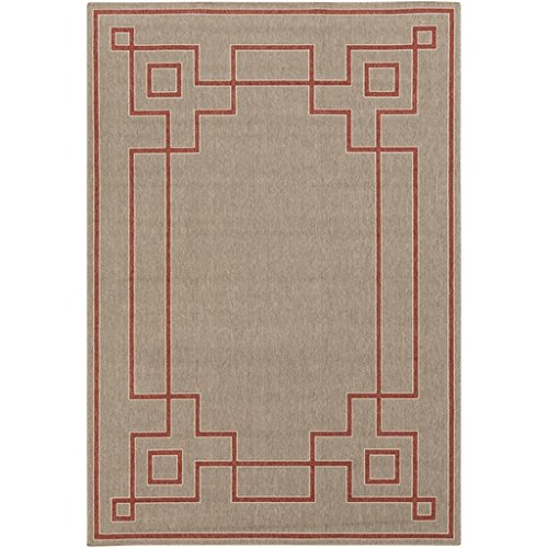 (Diva At Home 3.50' x 5.50' Mosaic Medley Desert Taupe and Cayenne Pepper Red Shed-Free Area Throw Rug)