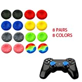 WELLSKEY 8 Pairs Thumb Grip Stick Cover For PS4 PS3 PS2 XBOX 360 ONE WII - Case Skin Joystick Controller (2 Black + 2 Blue + 2 Gray + 2 Pink + 2 Red + 2 Yellow + 2 Green + 2 Multicolor) Set # 12
