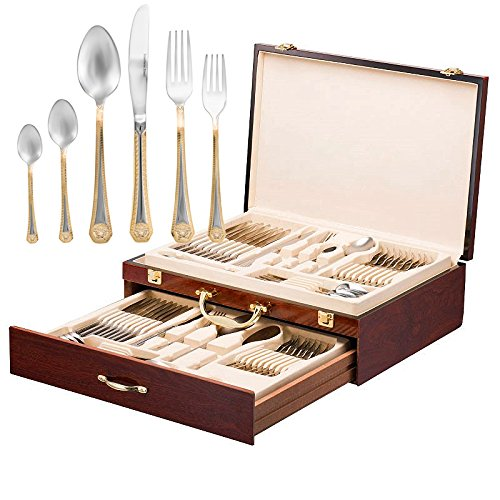 Italian Collection 'Greek Key' 75-Pc Premium Silverware Flatware Serving Set, Dining Cutlery Service for 12, 24K Gold Plated 18/10 Stainless Steel Hostess Serving Set in a Chest