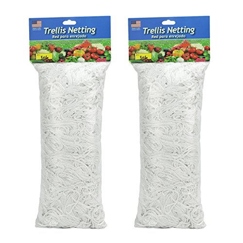 HiHydro Trellis Netting Heavy-Duty Nylon Tangle-Free White Garden Netfor Climbing, Fruits, Vegetables and Flowers (2-Pack 5'x30') by HiHydro