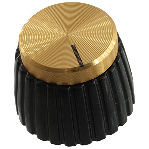 Marshall Style Amplifier Replacement Knob with Set Screw, Black with Gold Cap ()