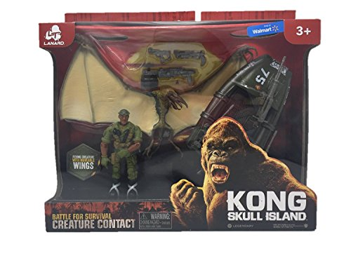 Kong Skull Island Creature Contact Playset With Winged Creature And Motorboat (Kong King Toy)