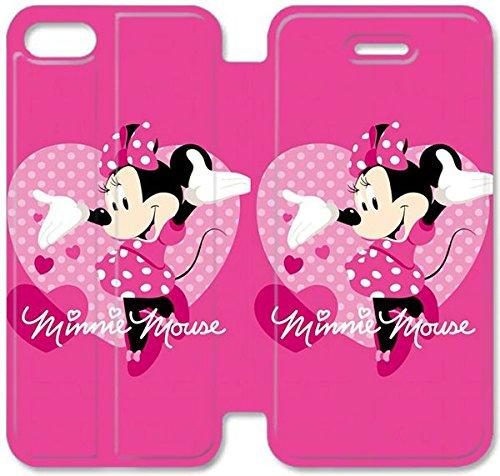 Flip étui en cuir PU Stand pour Coque iPhone 5 5S, bricolage 5 cas de téléphone cellulaire 5S Minnie Mouse 22 I5M2TO Cellaris Coque iPhone étuis en cuir