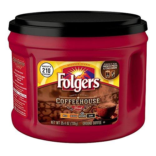 Folgers Coffeehouse Blend Ground Coffee, Medium-Dark Roast, 25.4 Ounce