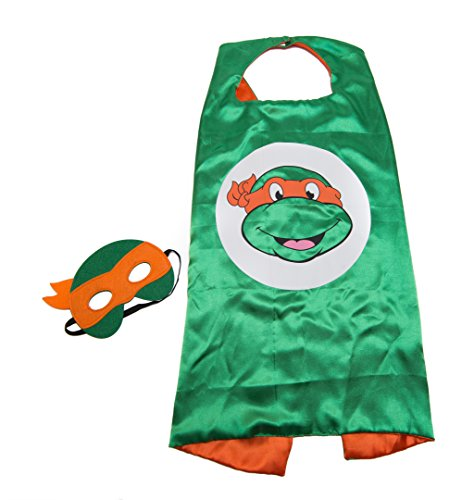 Kids Capes Superhero and Princess Cape and Mask Sets, Great For Dressing Up With Costumes & Playing (Ninja Turtles - Orange - Michaelangelo)