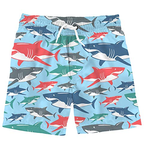 Funnycokid Kids Swim Trunks Shark Printing Quick Dry Bathing Suits Boys Girls Swim Short 10-12T