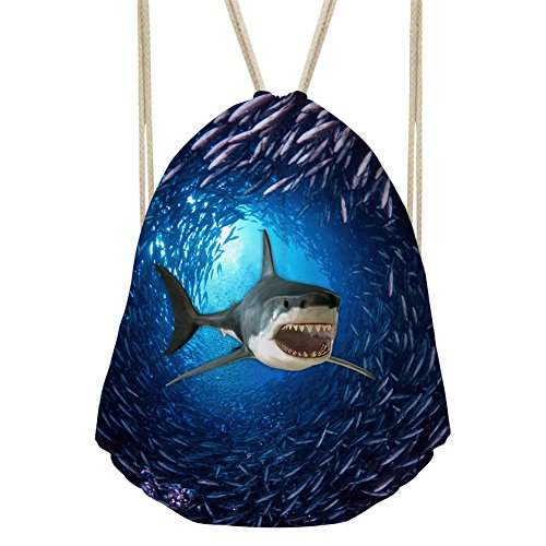 Showudesigns Cool Shark Printing Teenager String Gymsack for Jogging Walking Fitness ()