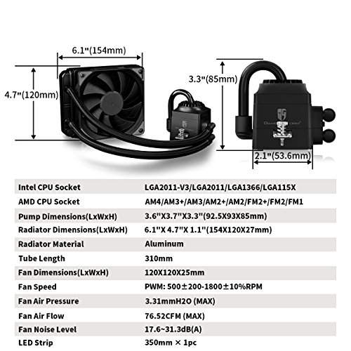 amazon com: deepcool liquid cpu cooler captain 120ex rgb, synchronous rgb  waterblock and led strip controlled by cable controller or motherboard  software,