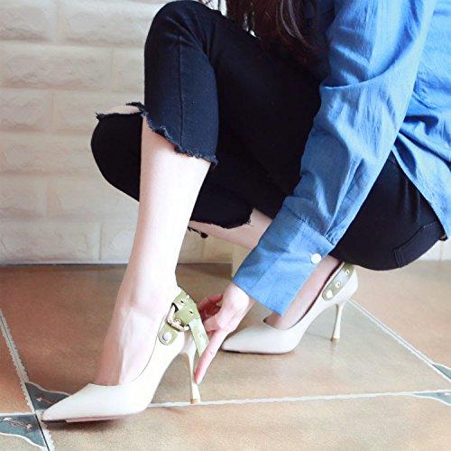 Xue Qiqi Tribunal Zapatos Sandalias Zapatos de Baile Zapatos de Tacón Alto Zapatos de Mujer Salvaje Fina con Punta de luz Solo Zapatos de Hebilla Hembra Beige