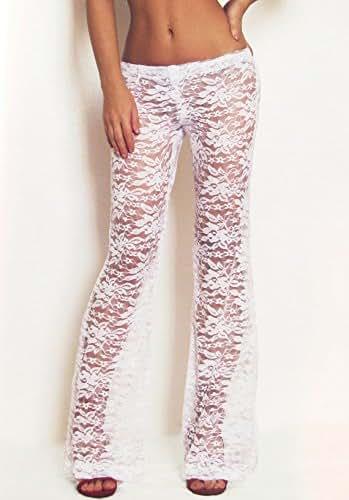 Amazon Com Bridal White Lace Pants Boho Pants Festival