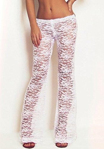 cf0c877c078db Amazon.com: Bridal White Lace Pants/Boho Pants/Festival Pants/Gypsy Pants/Burning  Man Pants/Beach Cover-Up Pants/Flare Pants/Playa Attire: Handmade
