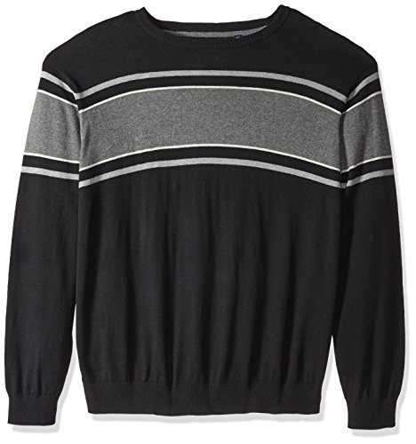 IZOD Men's Big Fine Gauge Stripe Crew Sweater, Black, 4X-Large Tall by IZOD
