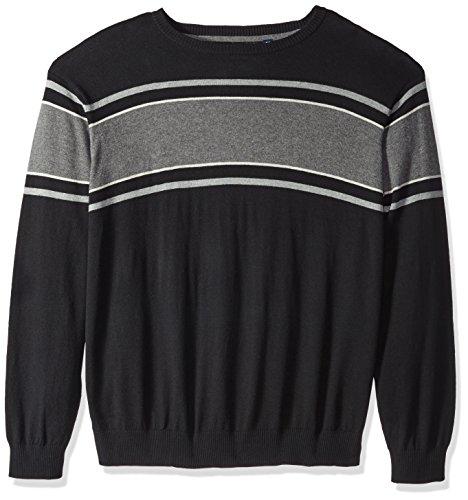 IZOD Men's Big Fine Gauge Stripe Crew Sweater, Black, X-Large Tall by IZOD