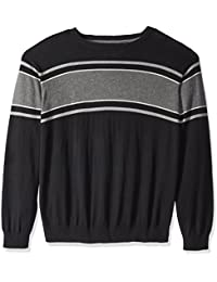 Men's Big and Tall Fine Gauge Stripe Crew Sweater