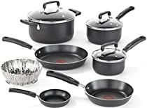 T-fal C111SA Signature Nonstick Dishwasher and Oven Safe Thermo-Spot Cookware Set, 10-Piece, Black
