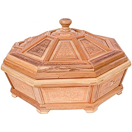 Carved Octagonal Fruit Bowl Gift Mahogany Top Grade Fruit Wooden Fruit Boxes Ornaments