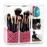 Makeup Brush Holder Organizer, HBlife Acrylic Makeup Organizer with 2 Brush Holders and 3 Drawers Dustproof Box with Free Pearl