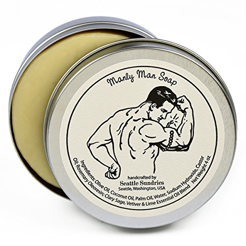 4 Ounce Travel Tin - Manly Man Soap-100% Natural Skin Care Bar. Scented with Essential Oils. One 4 oz Bar in a Handy Travel Gift Tin. Great For Men, Guys, Workout, Muscle, Exercise Lovers.