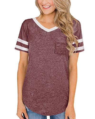 - Short Sleeve Shirts for Women Casual Loose Plain T Shirts Plus Size Coffee Basketball Game Tee M