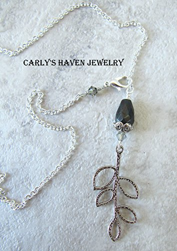 Silver branch necklace with Fancy Jasper and Swarovski - Branch Fancy
