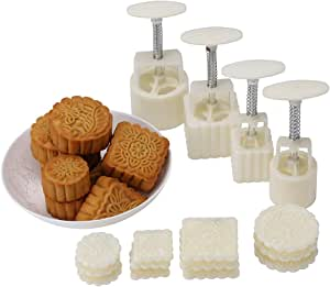 Generic Mid-Autumn Festival Hand-Pressure Moon Cake Mould With 12 Pcs Mode Pattern For 4 Sets