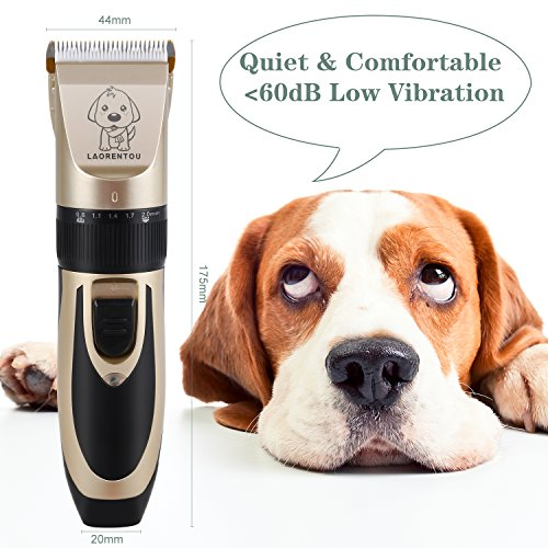 AFBEST Dog Grooming Clippers Low Noise Rechargeable Cordless Pet Clippers,Professional Dog Hair Trimmer Grooming Kit with 4 Guide Combs and Cleaning Brush Nail Kits for Dogs Cats and Any Animals (Grooming Pet Professional)