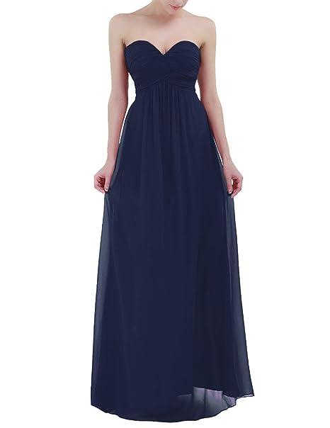 Freebily Vestido Largo Elegante Mujer Chica para Fiesta Cóctel Graduación Boda Vestido de Noche Azul Oscuro