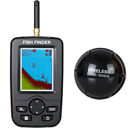 Venterior Portable Fish Finder Wireless Sonar Sensor Fishfinder Depth Locator with Fish Size, Water Temperature, Color LCD Display
