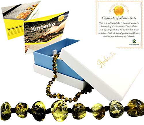 Amberito Baltic Amber Teething Necklace for Babies (Greenish) Natural Anti-Inflammatory Amber Beads| Holistic Jewelry and Drooling Support | Quick Fasten Easy-Clasp | for Baby, Toddler Girl and Boys