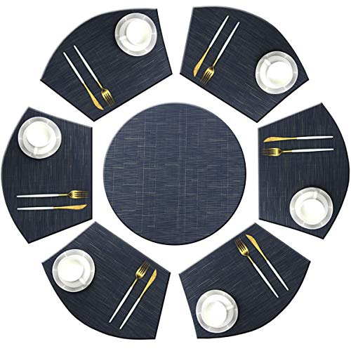Bright Dream Wedge Placemats with Centerpiece for Dinning Table Woven Vinyl Easy to Clean Heat Resistant Table Mats (1 Round Placemats and 6 Wedge Placemats,Navy