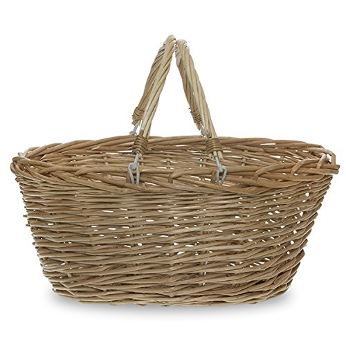 The Lucky Clover Trading Vintage Willow Swing Handle Shopping Basket, 16.5