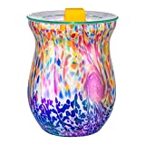 COOSA Ocean Wave Glass Candle Warmers Wax Warmers Electric Incense Essential Oil Warmer Fragrance Warmer Night Light for Home Office Bedroom Aroma Decorative Lamp for Gifts & Decor