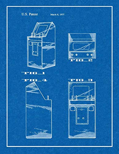 (Atari Video Game Cabinet Patent Print Blueprint with Border (8