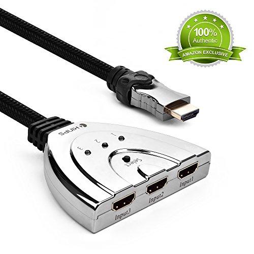 HDMI Switch,Kinps® High Speed 3 In 1 Out HDMI Adapter Splitter/HDMI Verteiler mit Nylon geflochtener HDMI Kabel für HDTV 1080P, TV Box, Spielkonsole und vieles mehr.