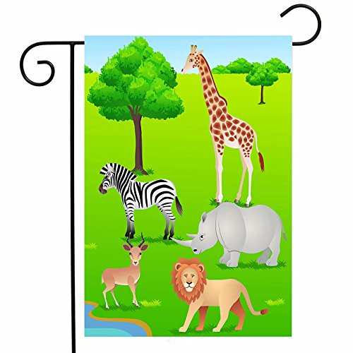 - ShineSnow Animal Zebra Giraffe Lion Green Spring Summer Garden Yard Flag 12