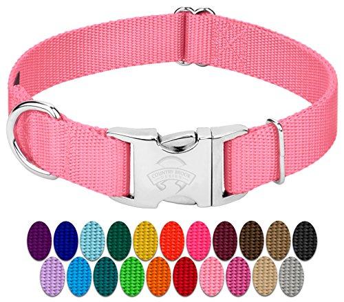 Country Brook Petz | Premium Nylon Dog Collar with Metal Buckle (Medium, 3/4 Inch Wide, Pink)