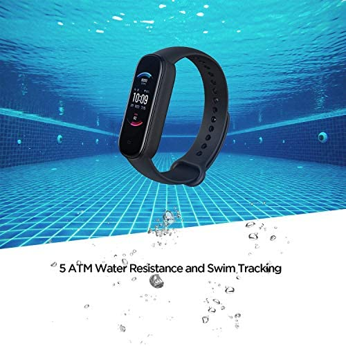 Amazfit Band 5 Fitness Tracker with Alexa Built-in, 15-Day Battery Life, Blood Oxygen, Heart Rate, Sleep Monitoring, Women's Health Tracking, Music Control, Water Resistant, Black