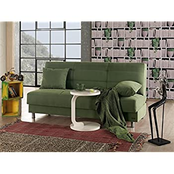 BEYAN Atlanta Collection Armless Modern Convertible Sofa Bed With Storage  Space, Includes 2 Pillows,