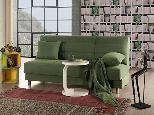 Empire Furniture USA Atlanta Collection Armless Modern Convertible Sofa Bed with Storage Space, Includes 2 Pillows, Green