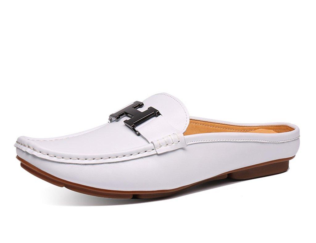 Zapatos Clásicos de Piel para Hombre Sandalias de los Hombres del Verano Sandalias Medias Zapatos de los Guisantes Zapatos Ocasionales Respirables (Color : Blanco, Tamaño : EU 41/UK7) EU 41/UK7 Blanco