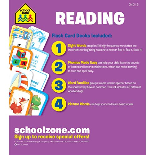 School Zone - Reading Flash Cards 4-Pack - Ages 4 and Up