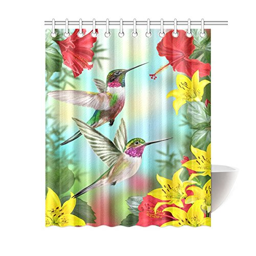 InterestPrint Hummingbirds Shower Curtain, Two Hummingbirds Sip Nectar from A Trumpet Vine Blossoms Summertime, Bathroom Accessories, 60 X 72 Inches, Red Yellow Green