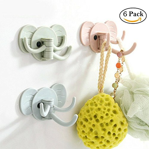 3 In 1 Self Adhesive Bathroom Wall Hooks Kitchen Towel Wall Amount Hooks Cute Elephant Hooks for Kids, 6 Pack