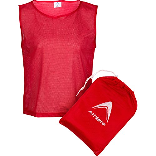 Athllete Set of 12- Scrimmage Vest/Pinnies / Team Practice Jerseys with Free Carry Bag. Sizes for Children, Youth, Adult and Adult XXL (Imperial Red, Medium)