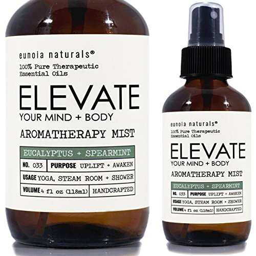 ELEVATE- Eucalyptus Spray, Eucalyptus Shower Spray, Eucalyptus Aromatherapy Mist, Steam Room Spray, Shower Mist, Refreshing & Uplifting Blend, Eucalyptus Essential Oil Mist, All Natural, 4oz Bottle ()