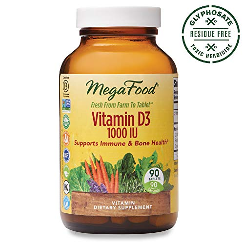 (MegaFood, Vitamin D3 1000 IU, Immune and Bone Health Support, Vitamin and Dietary Supplement, Gluten Free, Vegetarian, 90 Tablets (90 Servings) (FFP))
