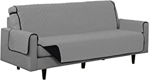 Linen Store Quilted Reversible Microfiber Pet Dog Couch Furniture Protector Cover Sofa (Black / Gray)
