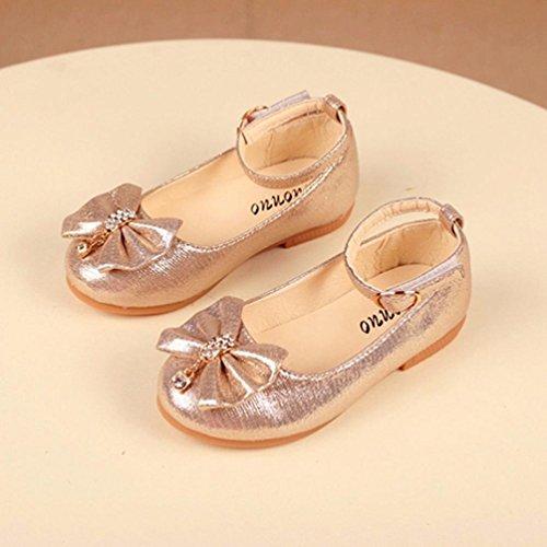Tenworld Girls Dress Ballet Toddler/Little Kids Mary Jane Ballerina Flat Shoes (25, Gold)